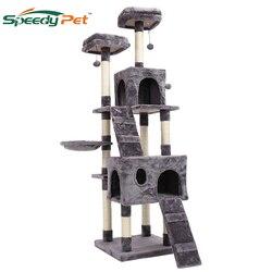 180CM Inlands versand Multi-Ebene Katze Baum für Große Katzen mit Gemütlichen Sitzstangen Stabile Katze klettergerüst Katze scratch bord spielzeug