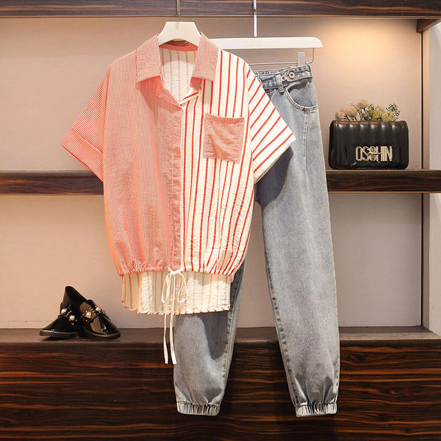 Fashion Autumn Set Women Striped Patchwork Drawstring Single Breasted Shirts Office Ladies Casual  Loose Chic Korean Simple 3