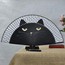 Gato chinês dos desenhos animados de seda na moda estilo japão fãs mão popular adorável kitty alta qualidade handheld dobrável feminino meninas fãs