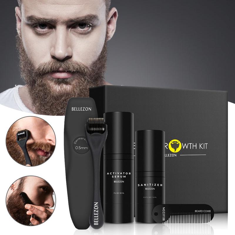 4 Pcs/Set Beard Growth Kit Men's Beard Growth Oil Nourishing Enhancer Beard Oil Beard Care With Comb Beard Roller Beard Oil