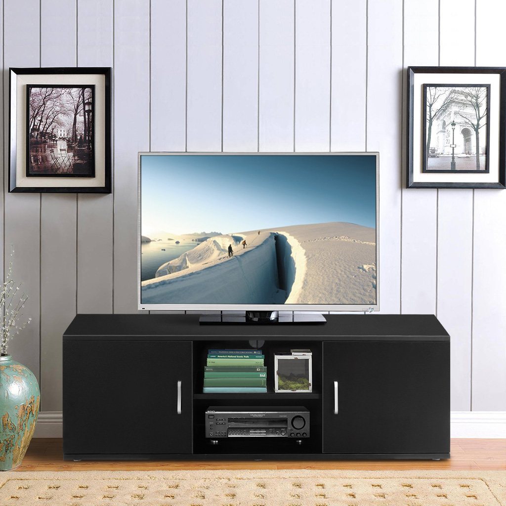 LANGRIA TV Stand With 2 Doors 2-Tier Open Shelf And Ample Flat Surface Contemporary Living Room Widescreen Storage System Unit
