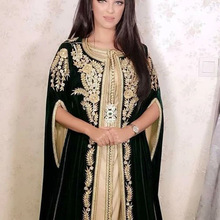 Formal-Dress Evening-Dresses Caftans Elegant Dubai Arabic Moroccan Dark-Green Long Abiye