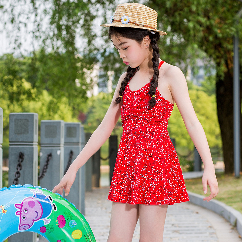 Summer Day New Style Children Bathing Suit Girls 6-9-Year-Old Qmilch One-piece Swimming Suit Dress Swimwear