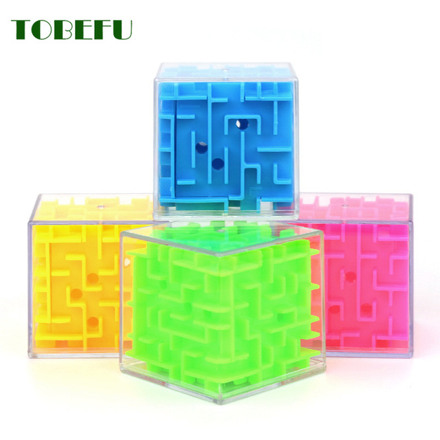 TOBEFU 3D Maze Magic Cube Transparent Six-sided Puzzle Speed Cube Rolling Ball Game Cubos Maze Toys for Children Educational 4