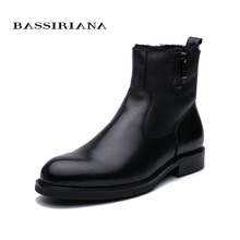 Bassiriana 2019 new winter boots mens leather with soft natural wool black 39-45 size Free Shipping