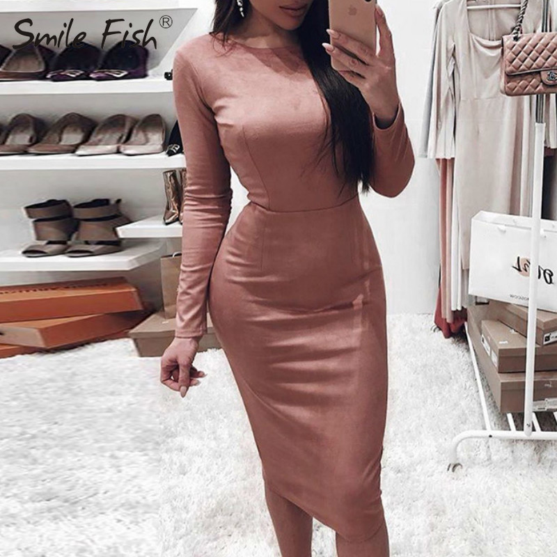 Bodycon Suede Autumn Winter Dress Vintage Party Women Long Sleeve O-Neck Pencil Midi Dresses Lady Office Sheath Slim Robe GV017