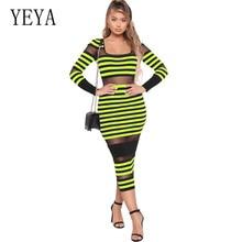 YEYA Women's Mesh Stitching Sexy Tight Stripe Bodycon Dress Vestidos Long Sleeve Ladies See Through Dress Plain Stretch Dresses цены