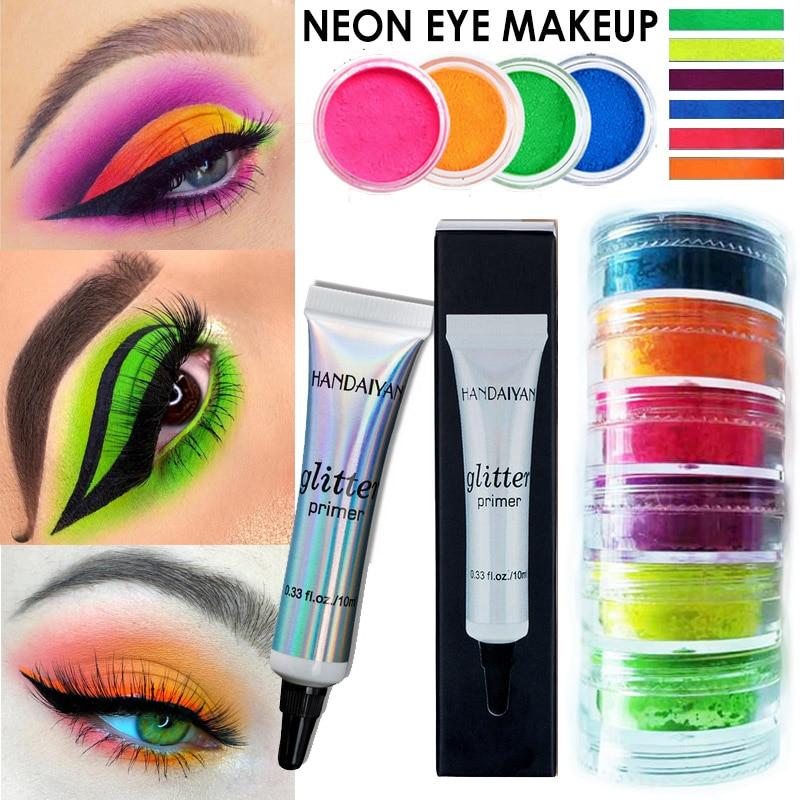 Multi-color Neon Loose Powder Eyeshadow High Pigment Matte Mineral Powder Spangle Neon Eyeshadow Yellow Green Eye shadoadow Dust(China)