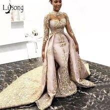 Элегантное золотистое кружевное вечернее платье Русалка со съемным