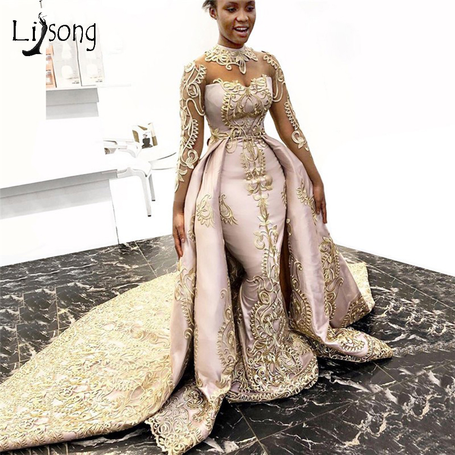 Elegant Gold Lace Mermaid Evening Dresses With Detachable Train Full Sleeves Long Evening Gowns 2020 Formal Dress