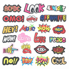 OOPS LOVE POW HEY COOL WOW Embroidery Patches For Clothing Fashion Letters Iron On Clothes Stickers DIY Jacket