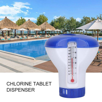 Pływający 5 Cal chlor bromu Tablet automatyczny dozownik z wbudowanym termometrem do basenu spa jacuzzi Fountain tanie i dobre opinie 5 Inch Dispenser