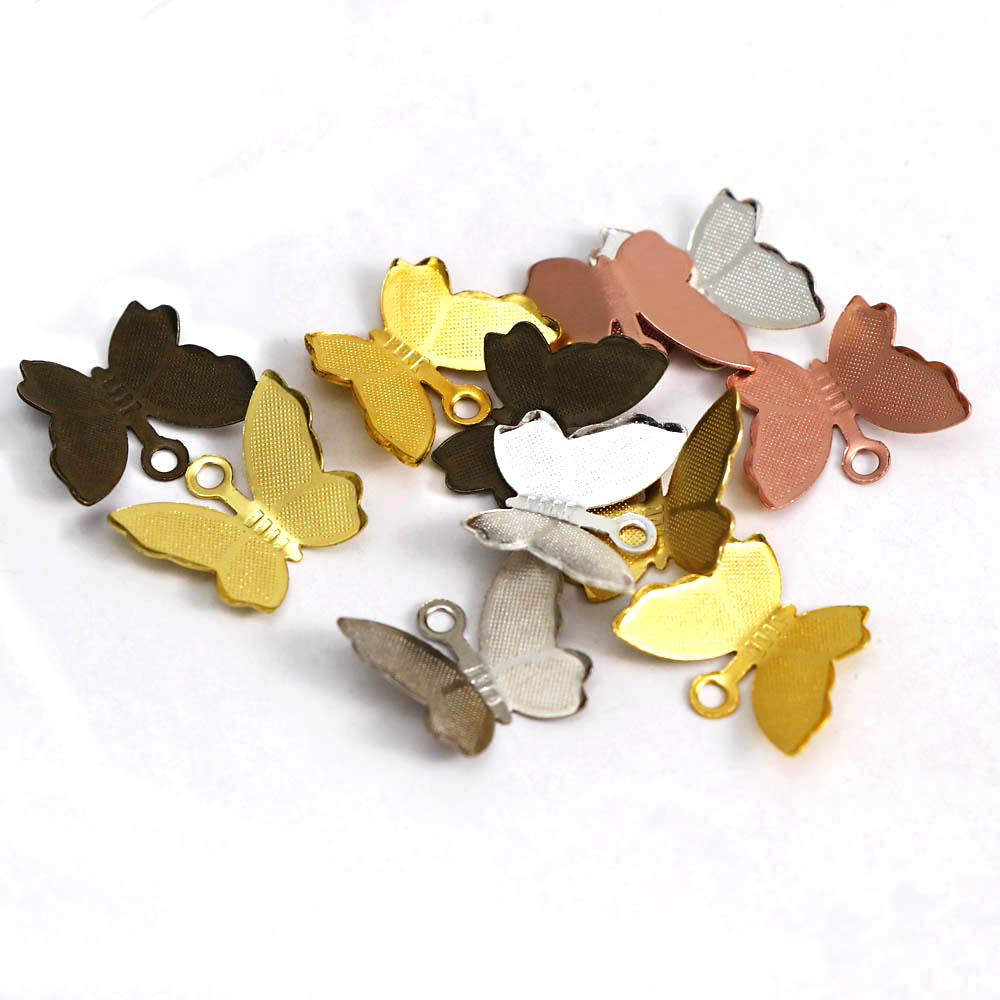 100PCS 11x13mm Copper Butterfly Filigree Charm Leather Clip Wraps Foldover Jewelry Connectors Crimp DIY Accessories