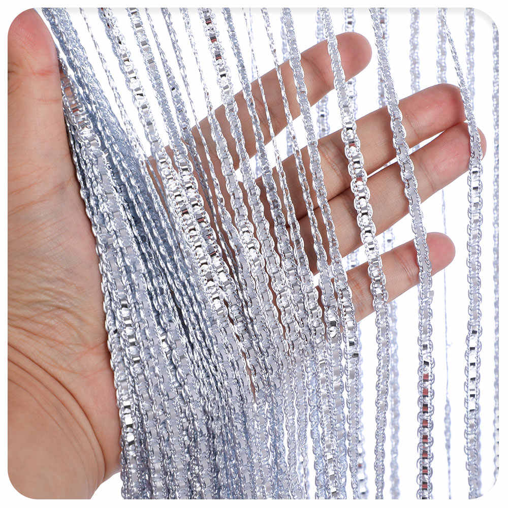 100x200cm String Curtain Valance Shiny Tassel Line Curtains Window Door Divider Drape Living Room Decor Home Decoration