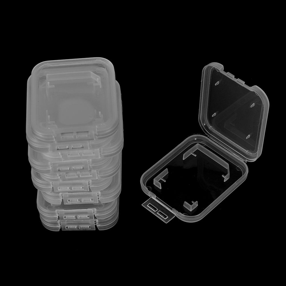 10Pcs For SD SDHC Memory Card Case Holder Protector Transparent Plastic Box Storage