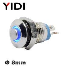 Interruptor de botón de Metal de 8mm encendido apagado de latón alto anillo LED iluminado 3V rojo verde azul LED 1NO interruptor de botón momentáneo