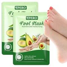 EFERO 1pair Avocado Exfoliating Foot Mask Nutritive Moisturizing Smooth Socks Pedicure Whitening Peeling Masks
