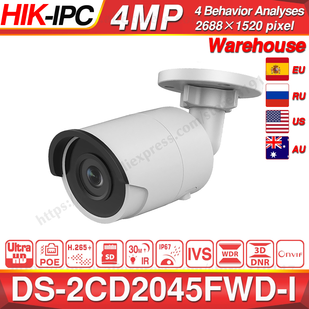 Hikvision DS-2CD2045FWD-I POE Camera Video Surveillance 4MP IR Network Dome Camera 30 M IR IP67 H.265+ SD Card Slot