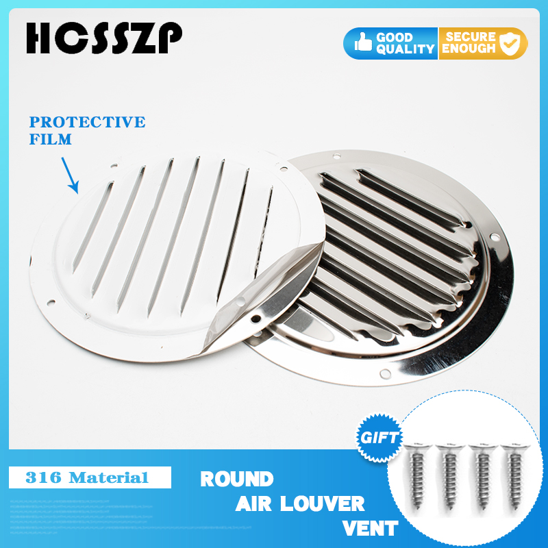 316 Stainless Steel Marine Round Air Vent Louver Vent Boat RV Mesh Hole Plug Decoration Cover Wardrobe Ventilation System 5 Inch