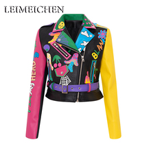 Jacket Women Graffiti Biker-Motorcycle Black Coats Punk Flame-Print Rivet MT-26312 Tops