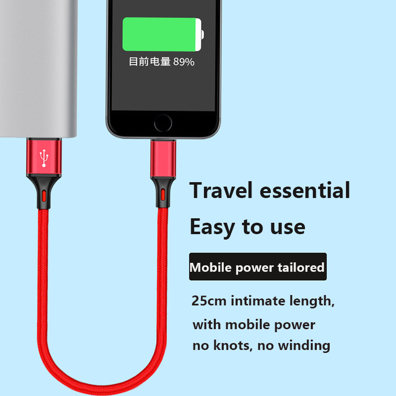 Fast Charge Short Type C USB Cable for Samsung Huawei Power Bank Use 25cm Micro USB