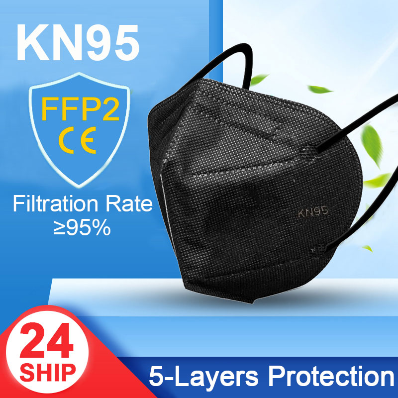 10 Days Delivery! 5 Layers KN95 Black Mask Safety Dust Respirator Kn95Mask Face Protective Reusable Mouth Masks FFP2 FFP3 1
