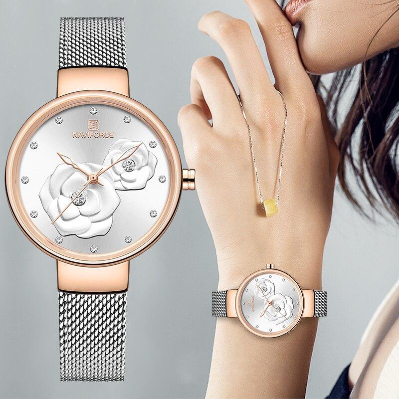 Reloj de mujer NAVIFORCE marca de lujo de malla de acero resistente al agua relojes de mujer reloj de pulsera de cuarzo con flor reloj de pulsera para mujer 20m 22mm de goma de Nylon de reloj de silicona banda reloj Omega Correa Seamaster Planet Ocean 8900 9900 naranja negro azul pulseras