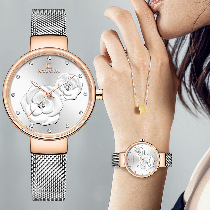 Women Watch NAVIFORCE Top Luxury Brand Steel Mesh Waterproof Ladies Watches Flower Quartz Female Wristwatch Charming Girl Clock