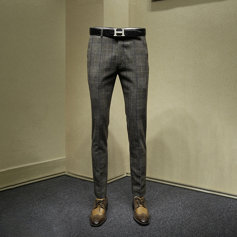 20% Wool Mens Dress Pants Brown Plaid Slim Fit Suit Pants Formal Pant For Man Wedding Groom Wear 2019 Autumn Winter Thickness 36