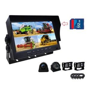 FHD 7-дюймовый AHD 4ch видеорегистратор, автомобильный монитор, грузовик, камера ночного видения, камера видеонаблюдения, сплит-экран, Quad