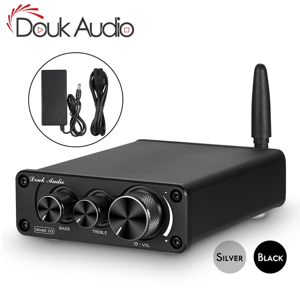 Douk Audio Mini Bluetooth 5.0 100W Power Amplifier HiFi Class D Stereo Digital Amp For Speaker Treble Bass Control