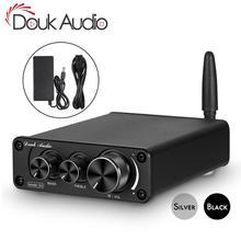 Douk mini amplificador de potência, áudio bluetooth 5.0 100w, classe d, stereo, digital amp para alto falante, controle de graves triplos
