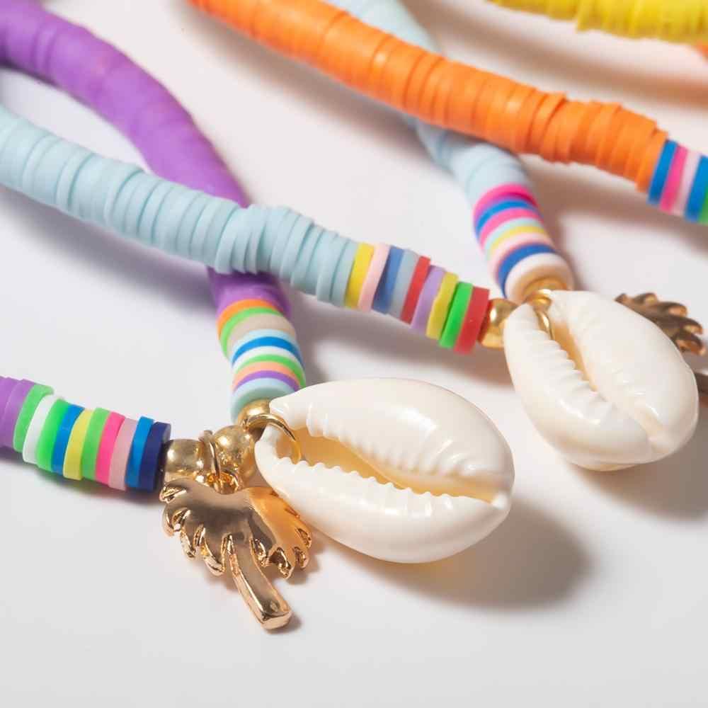 Bohemian Puka kabuk bilezik bileklik kadınlar için festivali hediyeler Punk hindistan cevizi ağacı gökkuşağı yumuşak zincir halhal tatil ayak takısı