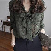 Coreano 2019 Moda Blusa Ocasional Camisas Arco Luva Cheia Blusas Com Decote Em V Tops Verde Senhoras Trabalho Desgaste Blusas