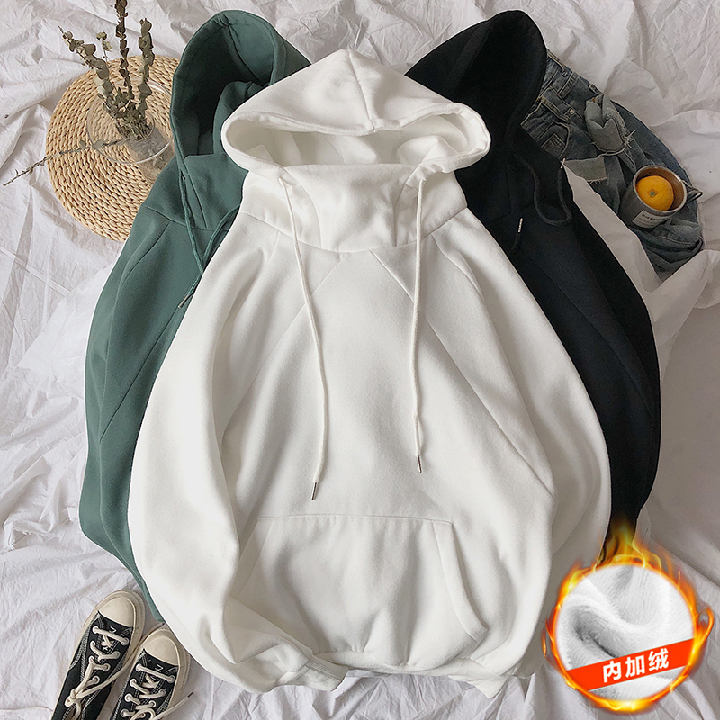 Winter Plus Velvet Hoodies Men Warm Fashion Solid Color Casual Hooded Sweatshirtmen Streetwear Wild Loose Hip Hop Hoodie Male