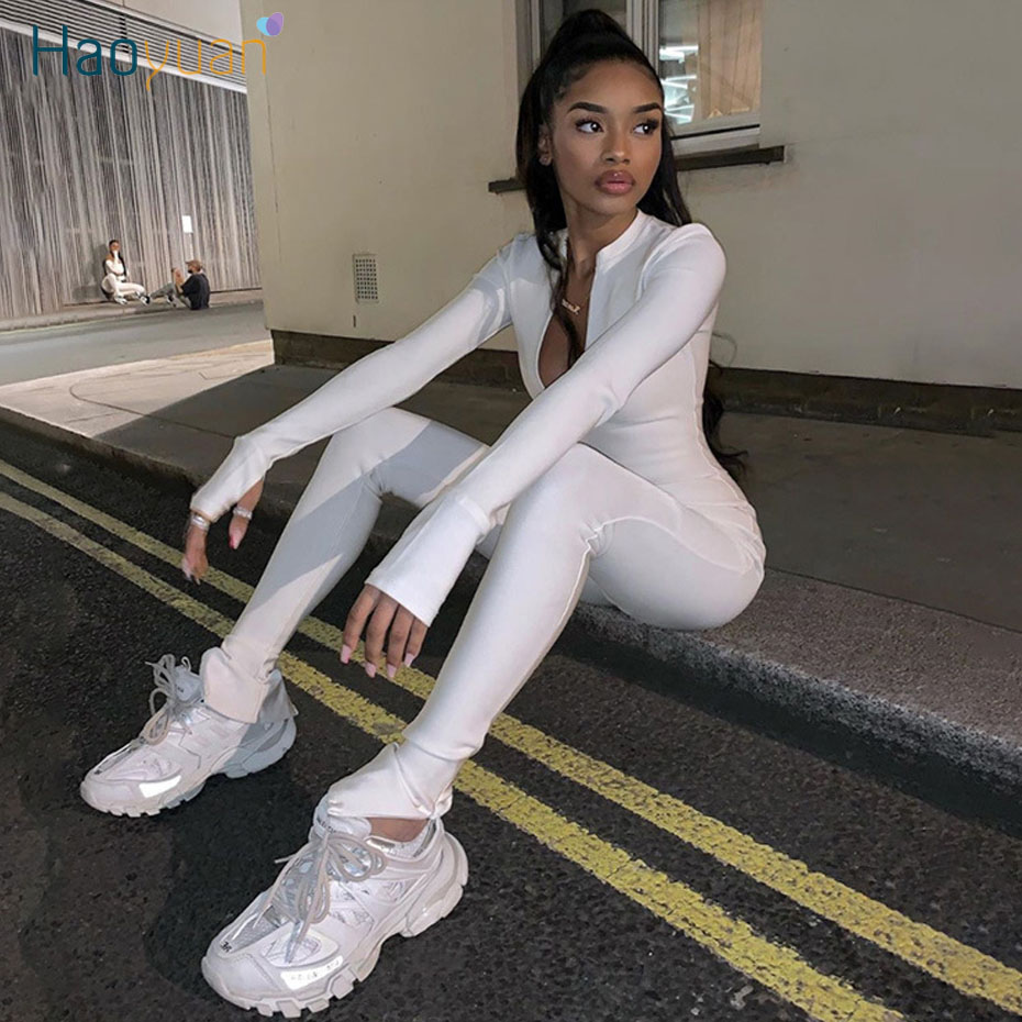 HAOYUAN Sexy Zipper One Peice Jumpsuit Women Fitness Sports Tracksuit Outfits Black White Long Sleeve Bodycon Rompers Jumpsuits