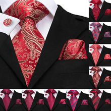 Hi-Tie 100% Silk Red Luxury Ties for Men Wedding Party Classic Paisley Tie Pocket Square Cufflinks Set Fashion Mens