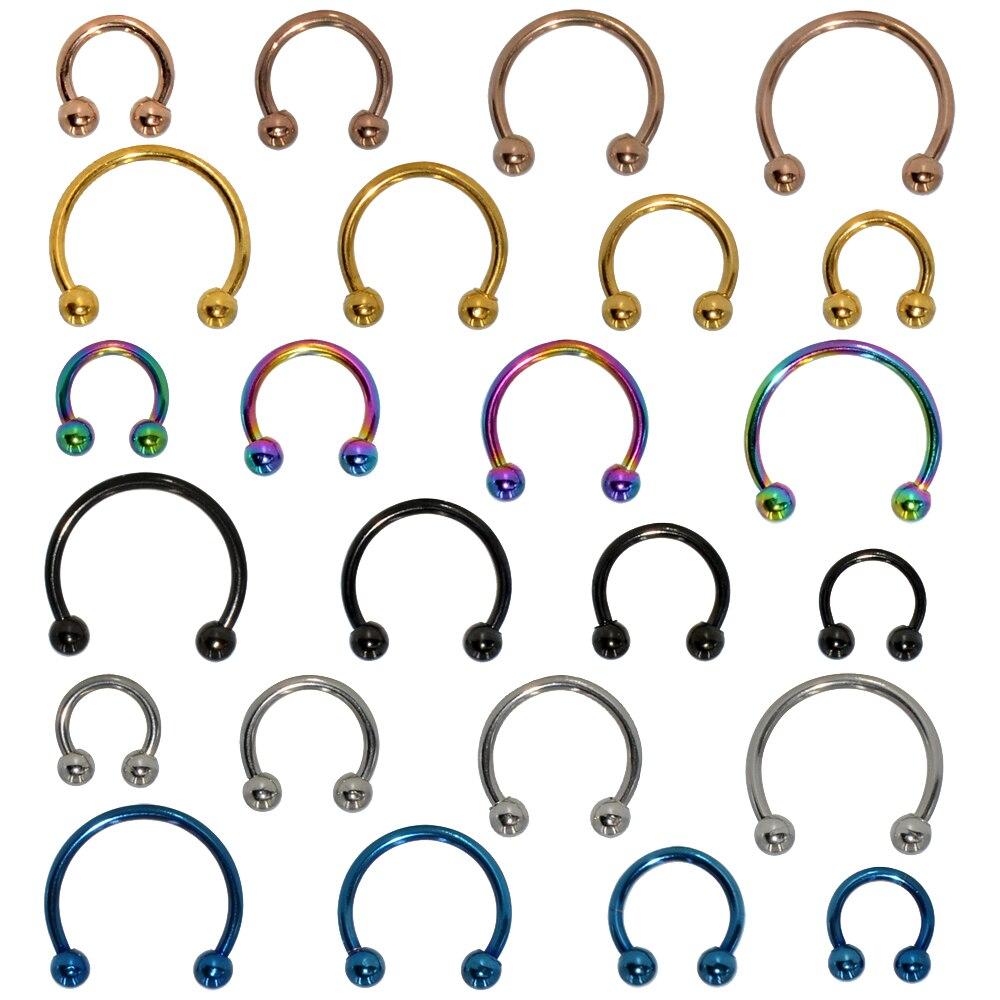 2 pçs de aço inoxidável narina nariz anel lábio anéis brincos circular piercing bola ferradura aro anel piercing jóias do corpo