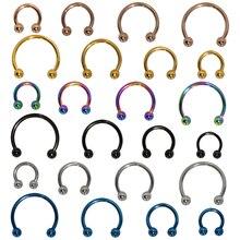 Rings-Earrings Hoop-Ring Ball-Horseshoe Body-Jewelry Piercing Nostril Stainless-Steel
