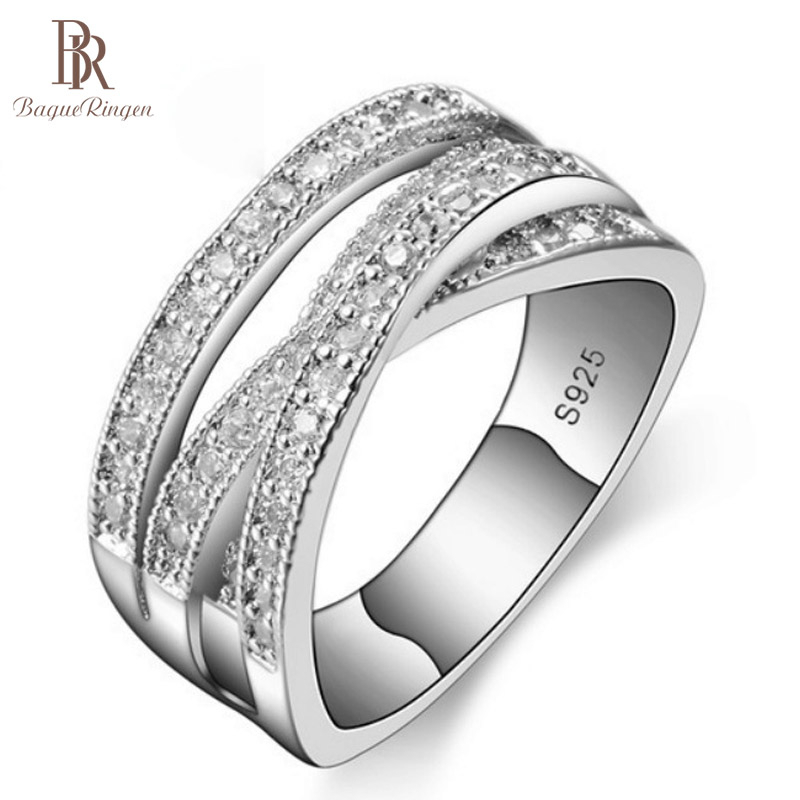 Bague Ringen Vintage 925 Sterling Silver Rings For Women With AAA Zircon Gemstone Silver Fine Jewelry Party Gift Size 6-10