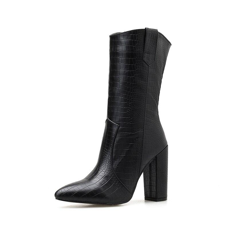 Купить с кэшбэком Pointed Toe Black Women's Mid-Calf Martin Boots NIUFUNI Sleeve High Heels Casual Women's Shoes Plus Size 35-42 Bottes femme