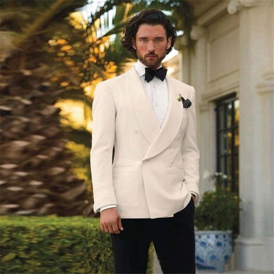 2020 Custom Made Ivory Men Causal Suit Formal Man Party Suits Grooms Wedding Tuxedos Double Breasted (Jacket+Pant)