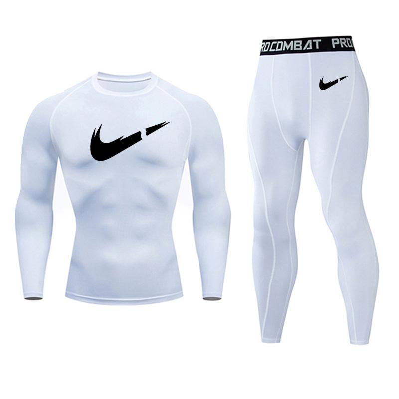 Fleece Thermal Underwear Set Men's Autumn Jogging Sports Underwear Skins Compression Spandex Tights Winter Thermal Underwear Set