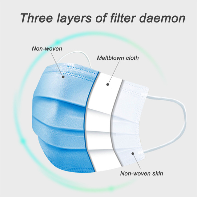 In Stock Fast shipping Medical Mask Anti Flu Safe Face Masks Mouth Cover Non-woven Disposable Earloops Adult Surgical Mask Blue 2