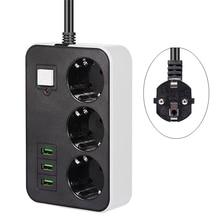 Network Filter Smart USB Power Strip Socket EU Plug 3 Socket 3USB Port 1.8M Extension  Socket Cord  Multi Plug Socket Adapter