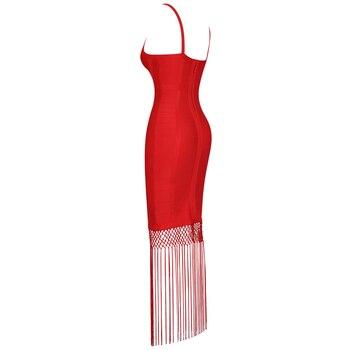 Ocstrade Red Bandage Dress 2020 New Sexy Fringe Tassel Vestidos Bandage Rayon Women Bandage Maxi Dress Celebrity Party Dresses 3