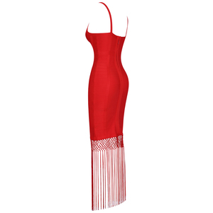 Image 4 - Ocstrade robe à franges, robe à franges, Sexy, avec pompons, robe Maxi à bandes, tenue de soirée, célébrité, nouvelle collection 2020