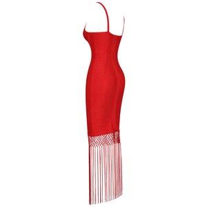 Image 4 - Красное Бандажное платье Ocstrade, длинное платье из вискозы с бахромой и кисточками, вечерние платья знаменитостей, новинка 2020