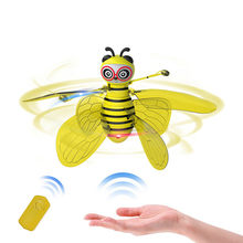 Remote control aircraft 2019 TOP Electric Infrared Sensor Bee Flying Toys Hand-Controlled Helicopter LED Light 6.4(China)