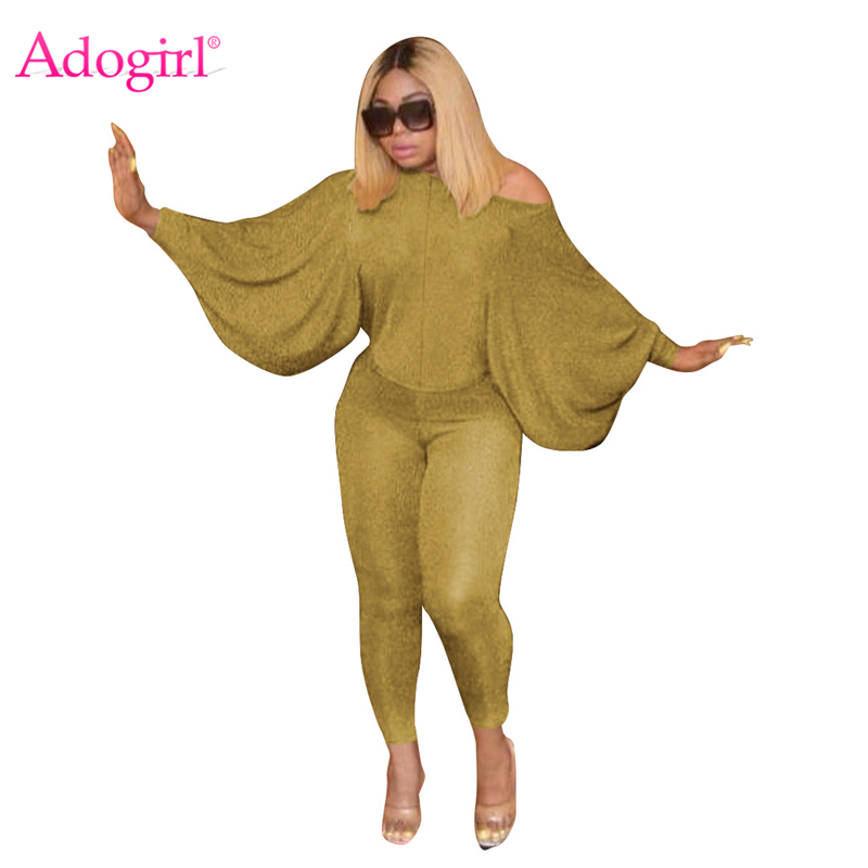Adogirl Shining Sequins Silk Fashion Casual Two Piece Set Off Shoulder Batwing Sleeve Top Pencil Pants Women Sexy Clothing